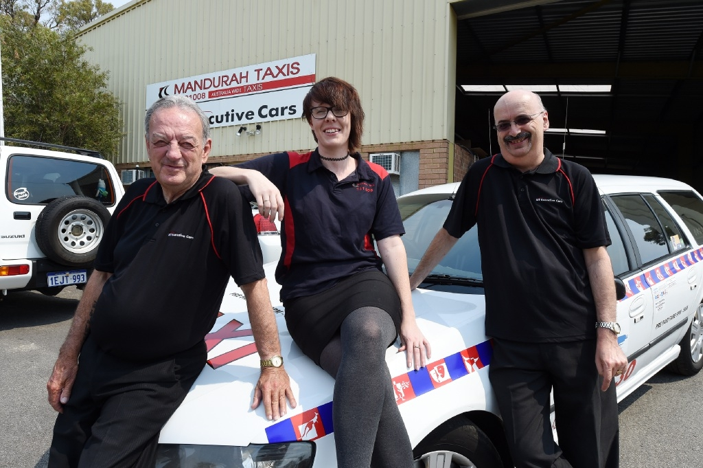 Lots of openings available... Mandurah Taxi staff Les Hatfield, Alex Brew and Steve Baker.Picture: Jon Hewson        www.communitypix.com.au   d446864