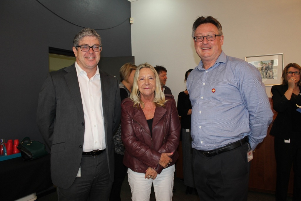 Mandurah chief executive Mark Newman, councillor and breakfast organiser Lynn Rodgers, and director of works and services Allan Claydon at the morning tea.