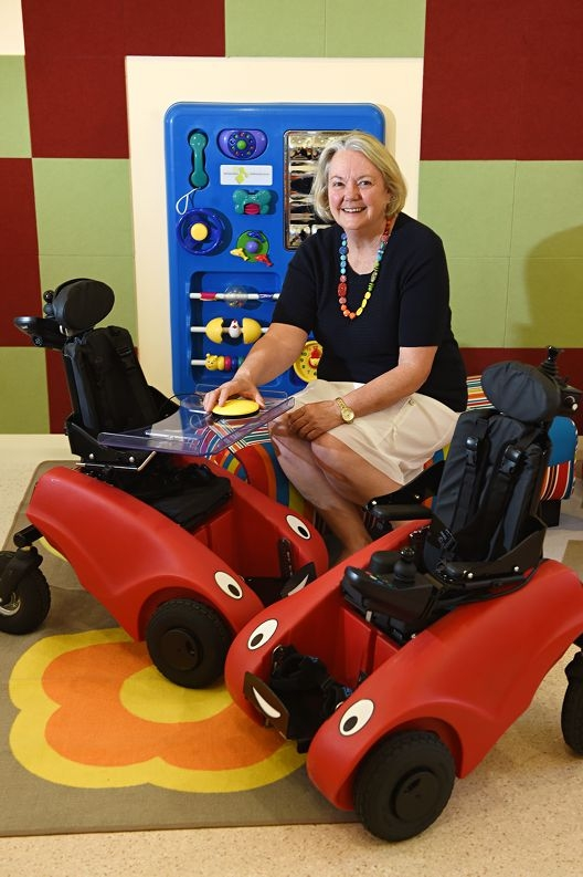 Cerebral Palsy centre CEO and WA business innovation award recipient Judy Hogben with the centre's wizzybugs movers. d427830