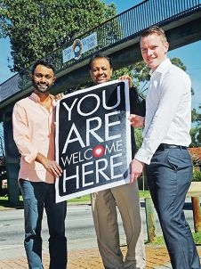 Welcome To Australia WA Director James Jegasothy, Refugee Week Ambassador for the Refugee Council of Australia John Jegasothy and Victoria Park Councillor Brian Oliver. d425726
