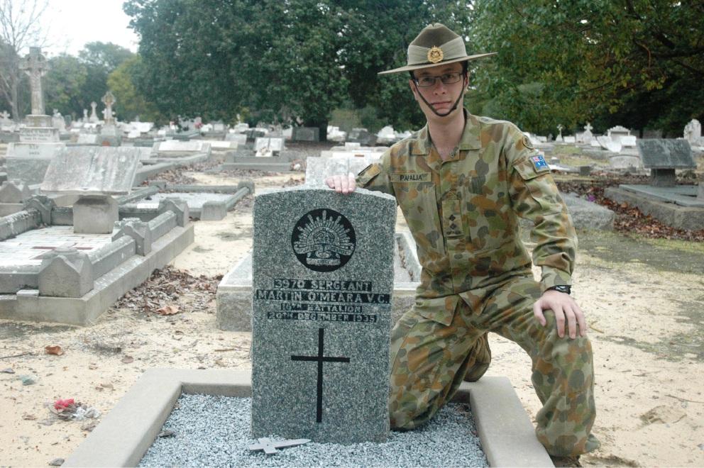 Lt Matt Papalia honours Sgt Martin O'Meara.
