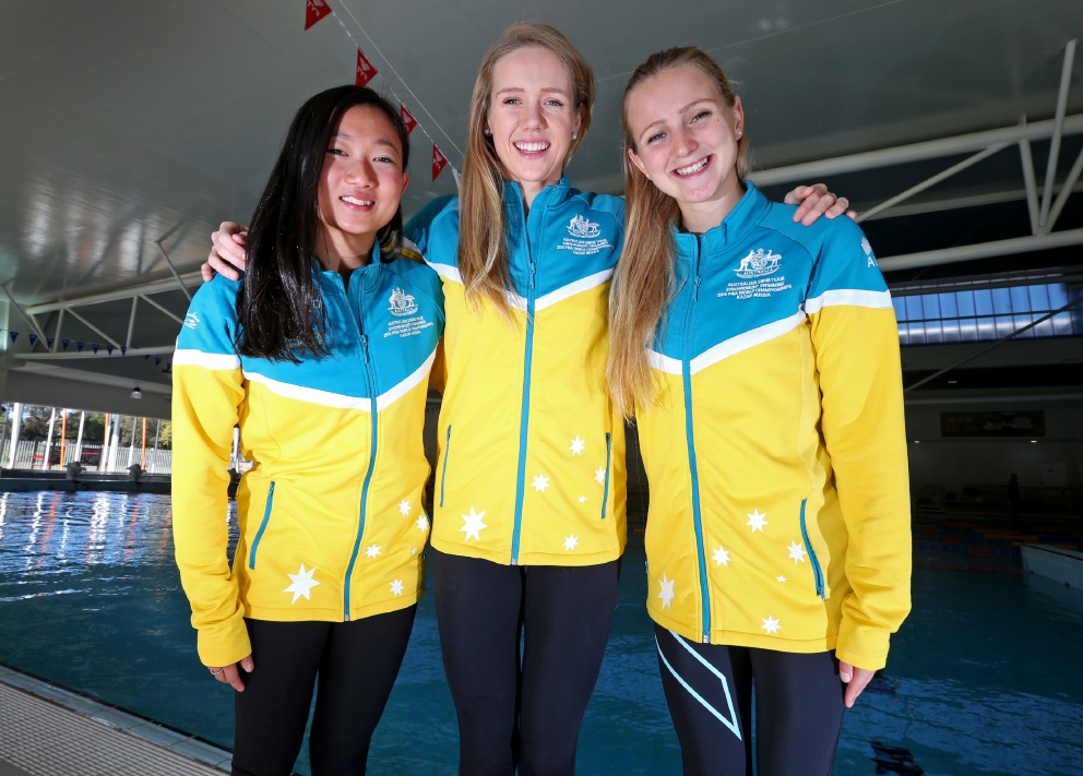 Deborah Tsai, Danielle Kettlewell and Amie Thompson are bound for Rio for the Olympic Games. Picture: Matt Jelonek www.communitypix.com.au   d455239