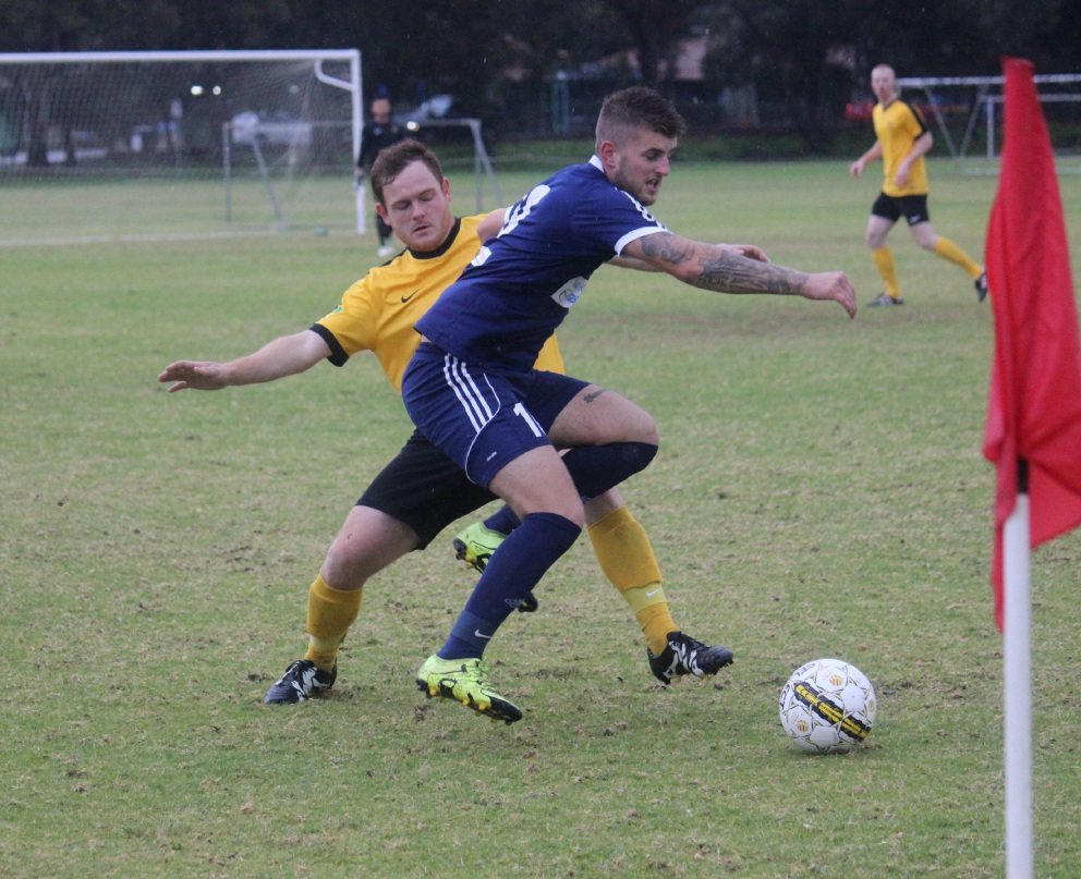 Forrestfield United's Mitchell Crocker and Joondalup United's Callum Stocks. Picture by Megan Bilaloski.