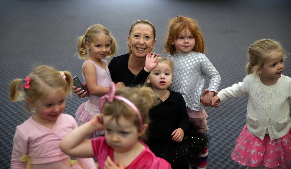 Kindy Dance Time franchisee Kirstie Roberts with some of her young charges. Picture: Martin Kennealey d455993