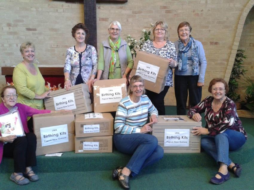Duncraig Craft Corner members with the birthing kits.