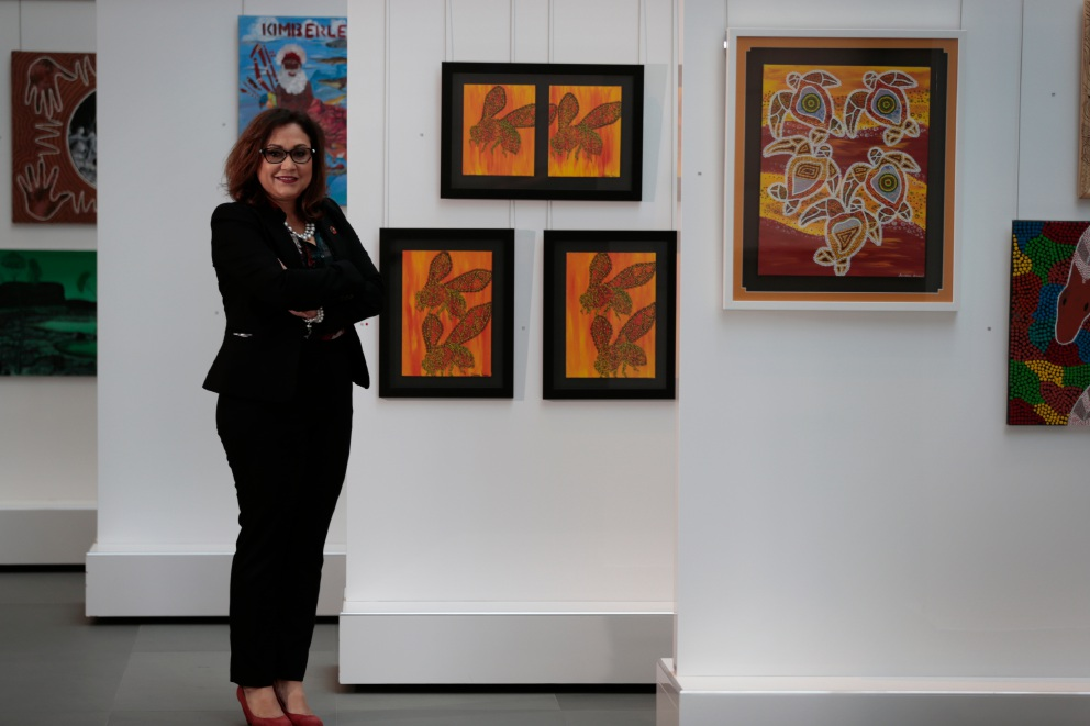 Assistant commissioner  Jenni Collard admires art by Aboriginal offenders in prison. Picture: Andrew Ritchie www.communitypix.com.au   d456587