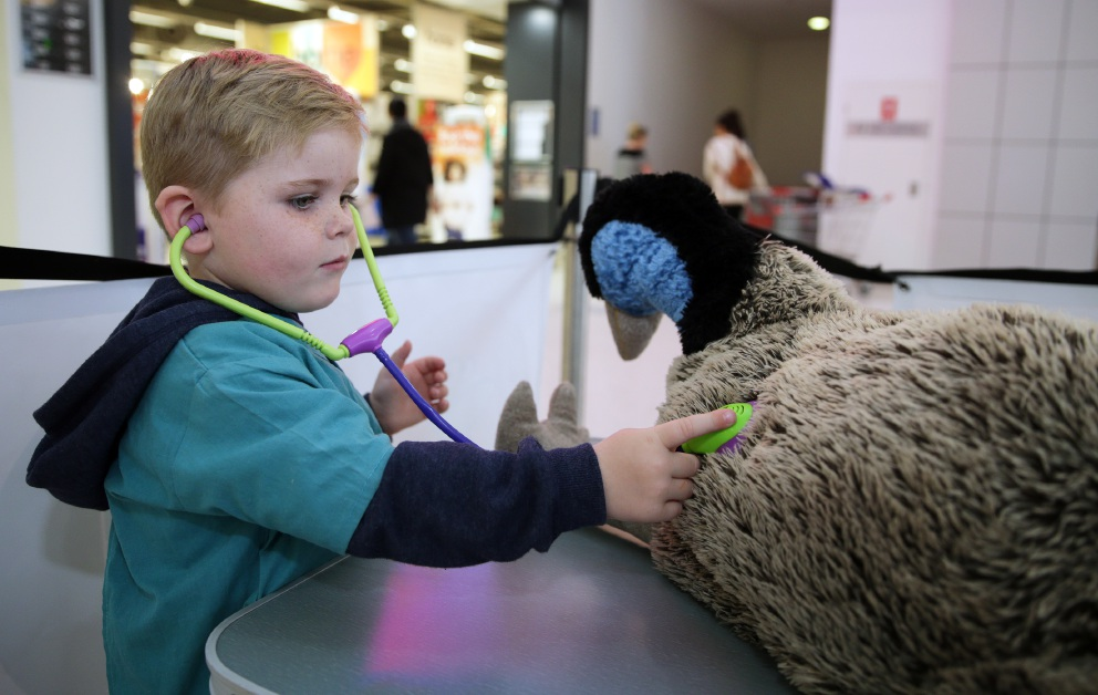 Children enjoy the Perth Zoo activities at Ocean Keys, including Butler's Olly (4) and Mia-Lilly Thompson (7), Clarkson's Nathan Yacoub (3) and Marmion's Hunter Young (5) who participated in the zoo workshops with leader Joan Cheeseman. Pictures: Martin Kennealey d456454