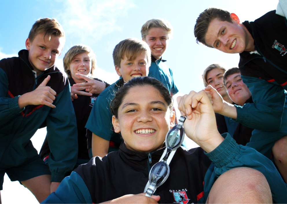 Luke Smoothy celebrating with his mates from Year 9.