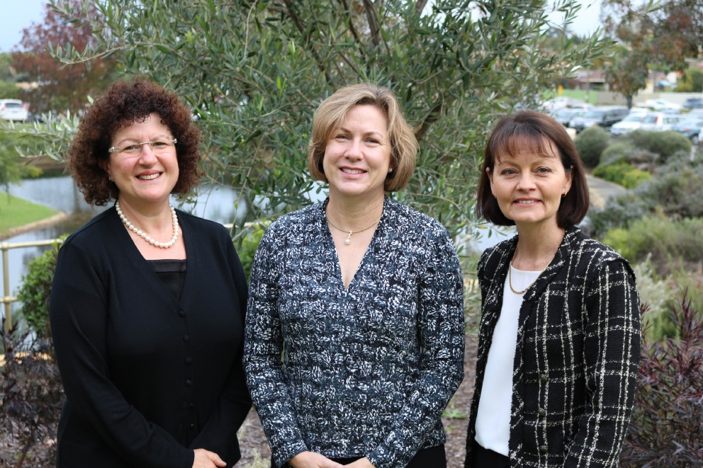 Nursing Research chair Leanne Monterosso, St John of God Murdoch Hospital's Dr Gail Ross-Adjie and Alexis Cranfield.