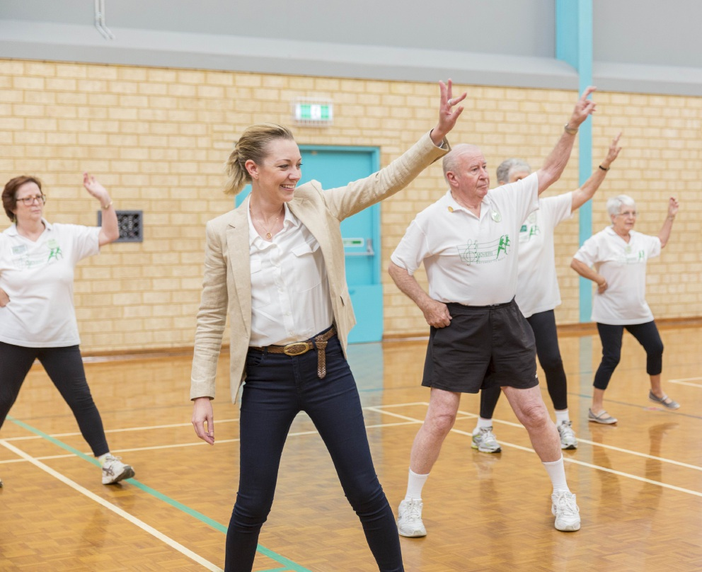 Sport and Recreation Minister Mia Davies with Prime Movers. Picture: Gareth Andersen