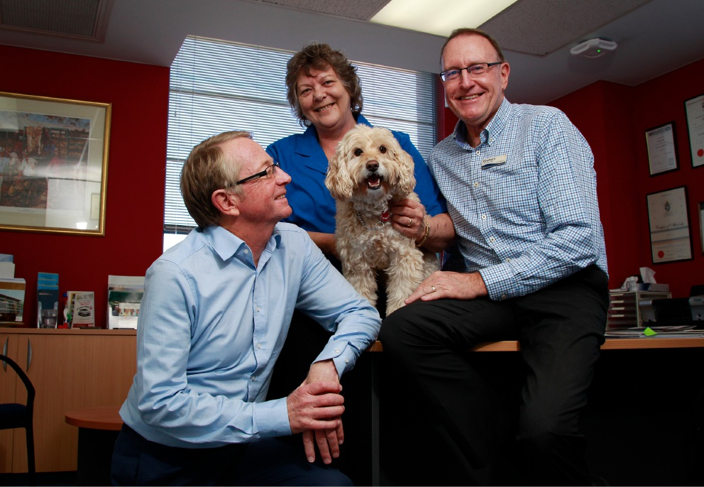 SwanCare's Garry Black, Kim George and Graham Francis with rescue dog Laila. Picture: Marie Nirme
