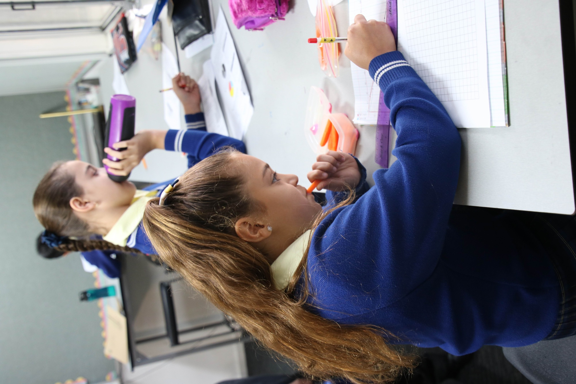 Year Five students Alessia Andritsos and Persia Colely nibble during class.