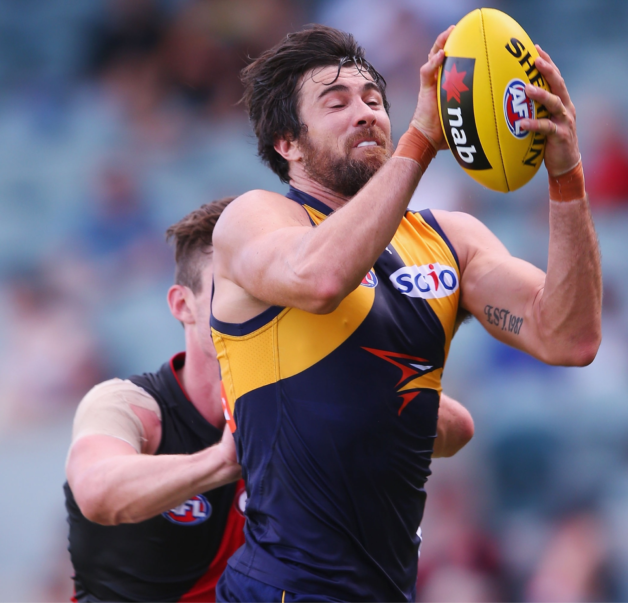 Josh Kennedy marks in West Coast's last clash against Essendon during the pre-season challenge. Picture: Getty Images