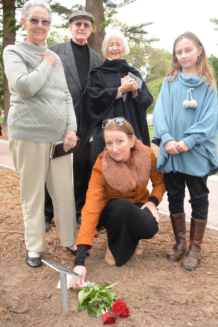 Rededicating Harry and Allan Johns' trees (l-r) were niece Margaret Waddingham (86), nephew Bob Dixon (83) and Annie Hazard, grand-niece Janine Dixon and AysiahOK Uren (10).