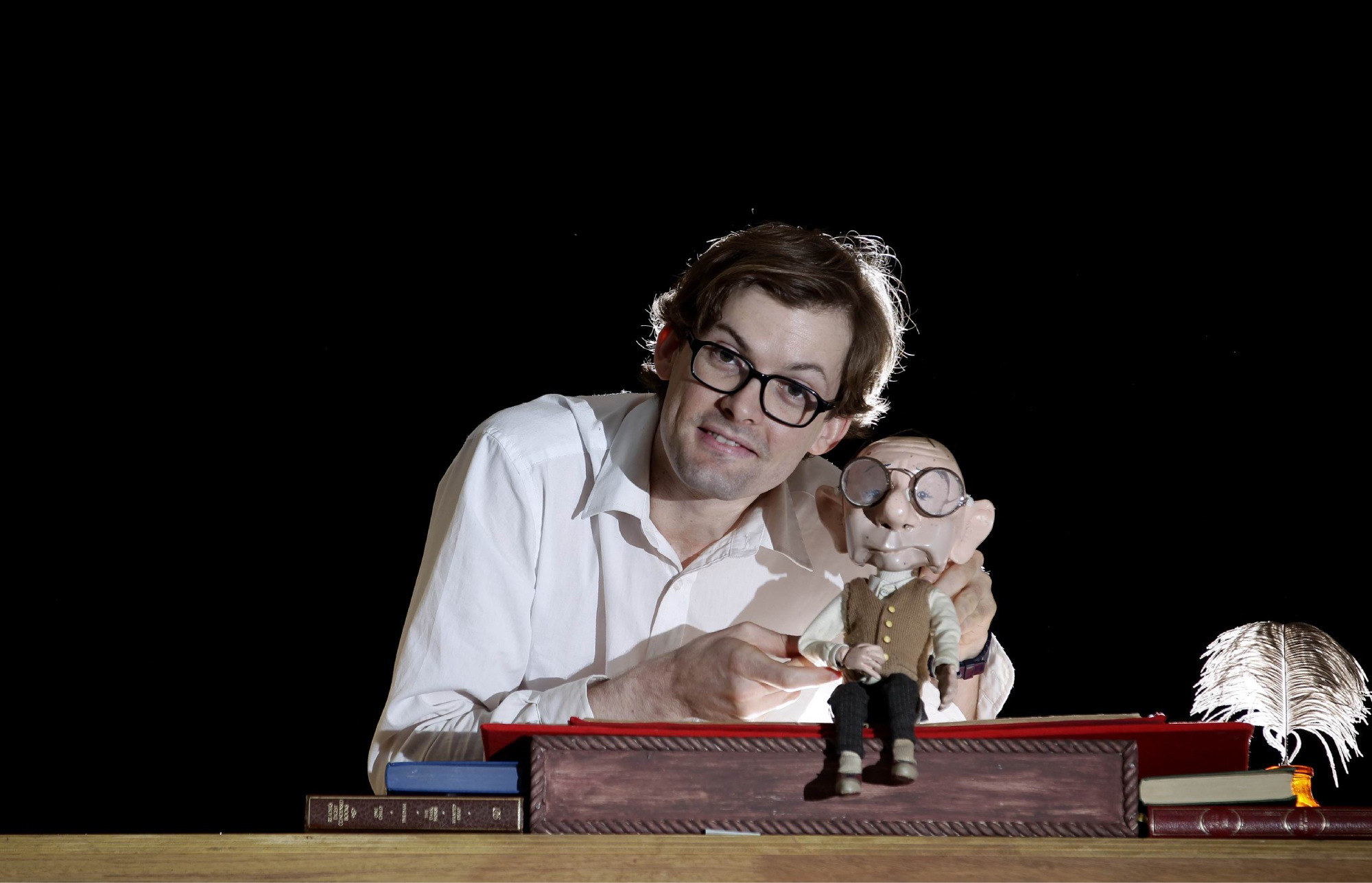 Tim Watts and Bambert in Barking Gecko State Theatre Company's Bambert's Book of Lost Stories. Picture: Marie Nirme.