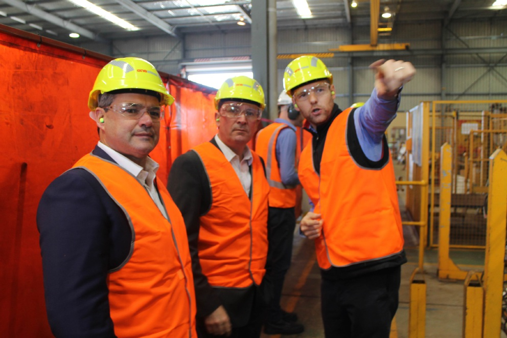 One Steel Reinforcing regional operations manager Lee Wood, State Opposition leader Mark McGowan and local Labor candidate Stephen Price tour the facility in Forrestfield.