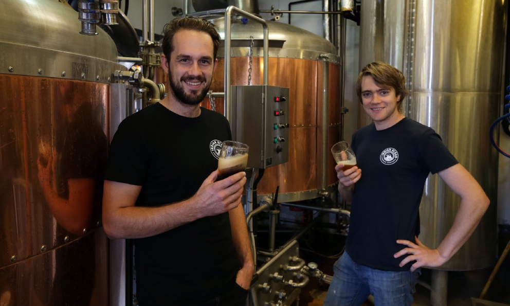 Head brewer Jack Purser and brew assistant Brody Watts. Picture: Martin Kennealey d454668