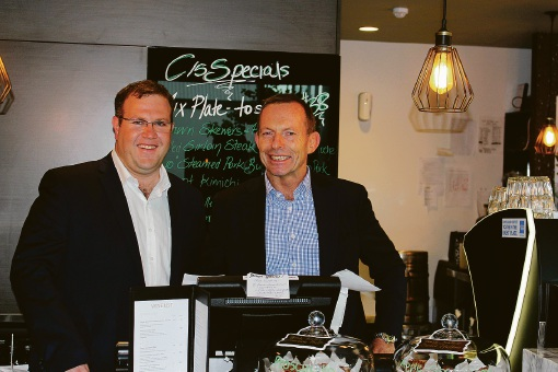 Liberal candidate for Tangney Ben Morton and former PM Tony Abbott.