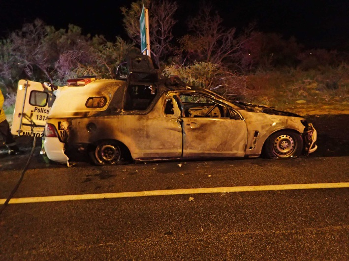 Yanchep: police car bursts into flames