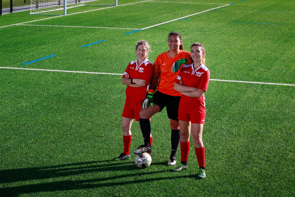Beckenham's Angels, L-R: Jess Lindquist, Stacey Cavill and Rachel Grove standing on their new training ground and new synthetic turf. Picture: Marie Nirme www.communitypix.com.au   d454953