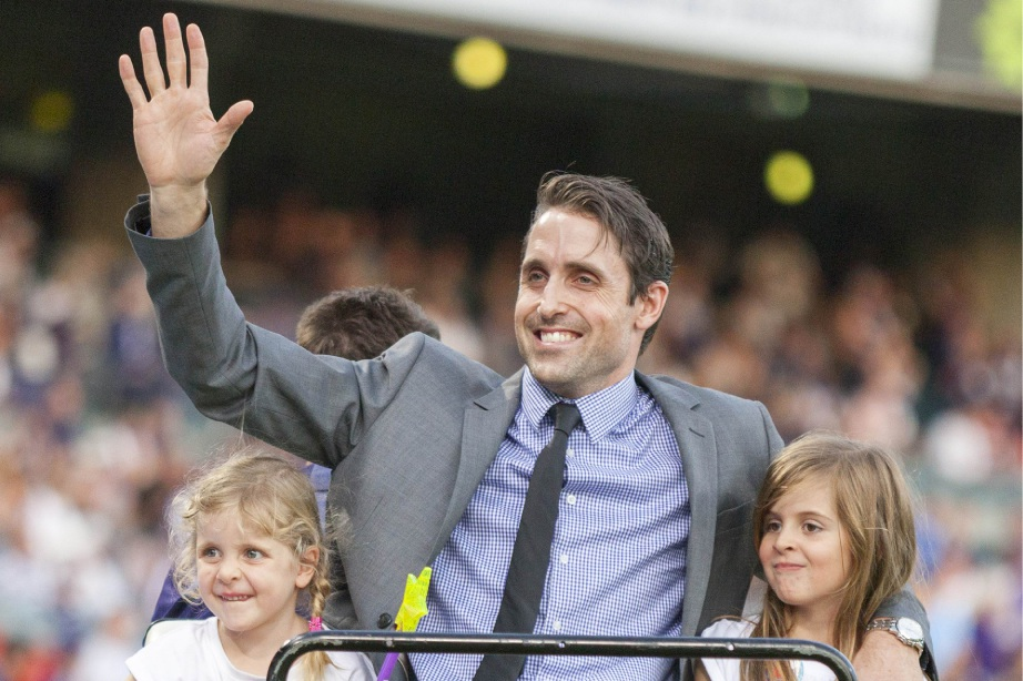 Luke McPharlin driven around Subiaco Oval last weekend with his daughters. Picture: Dan White