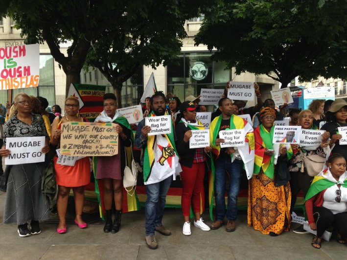 Zimbabweans living in the UK gathered in London to support the stay away in their home country. Picture: Kate Jarvis