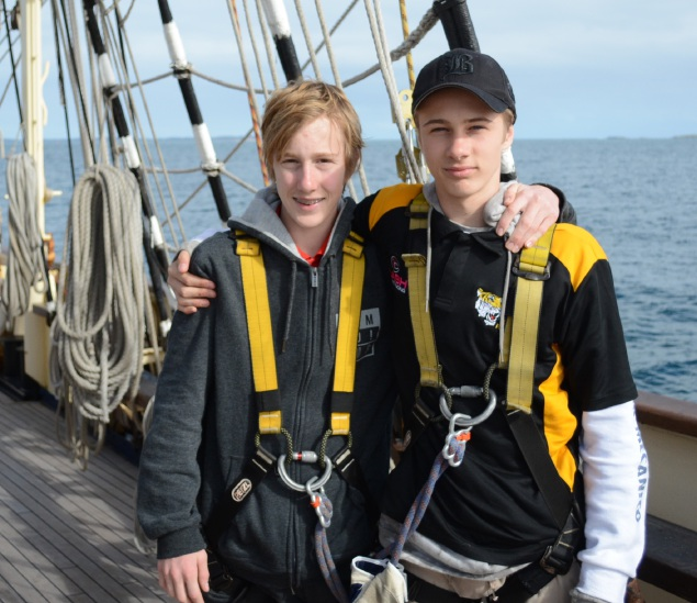 Harrison and Zachary Wing onboard the STS Leeuwin II.