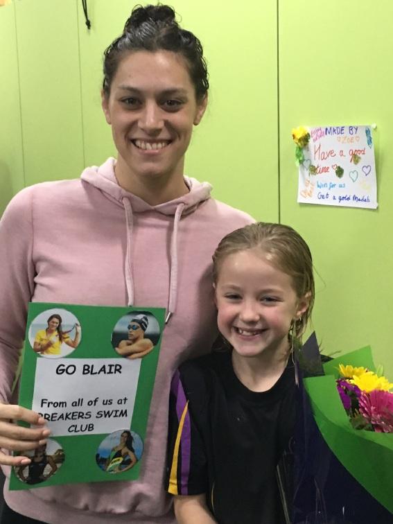 Rio Olympics: aspiring swimmers farewell Olympic star Blair Evans