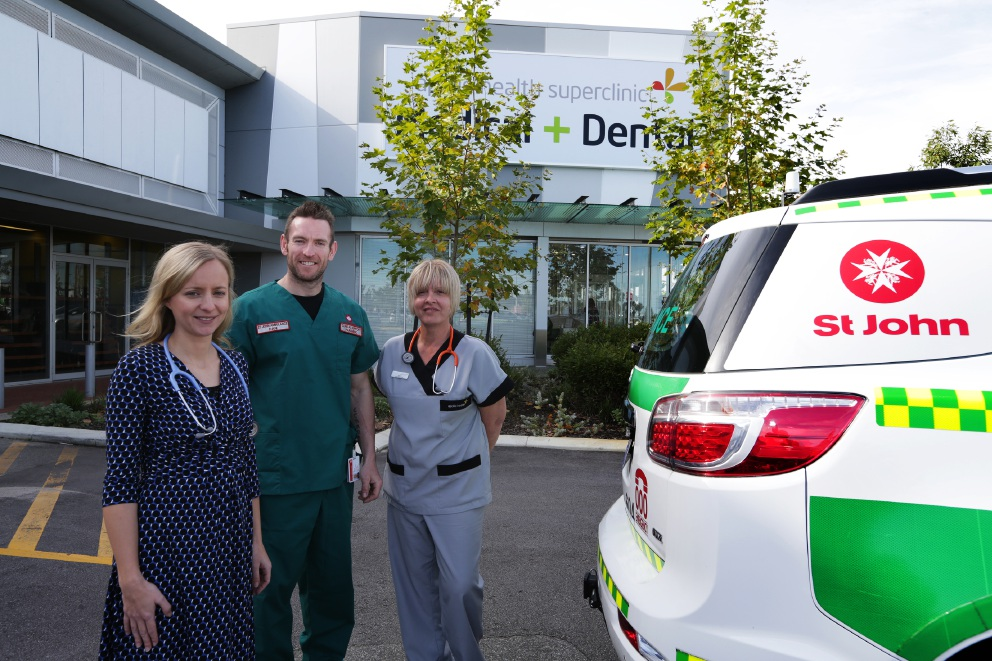 Dr Laura Cowley, clinical support paramedic Dan Whelan and senior practice nurse Louise Beswick. Picture: Martin Kennealey        www.communitypix.com.au   d456444