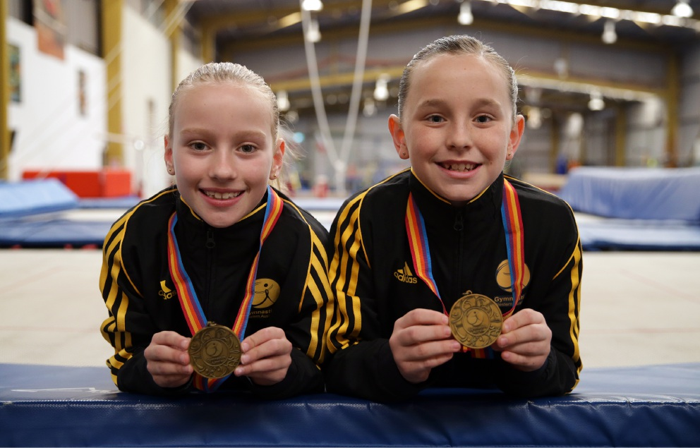 Young gymnasts Alannah Boseley and Meg Langridge. Picture: Martin Kennealey         d455894