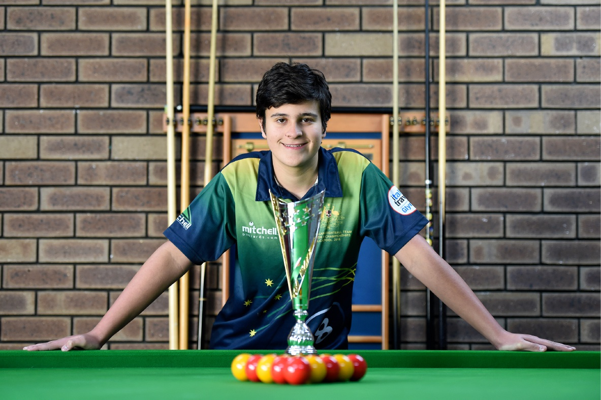 Alex Kingsbury (15) was part of the Australian team that successfully defended its World Junior Pool title.  Picture: Jon Hewson         www.communitypix.com.au   d456769