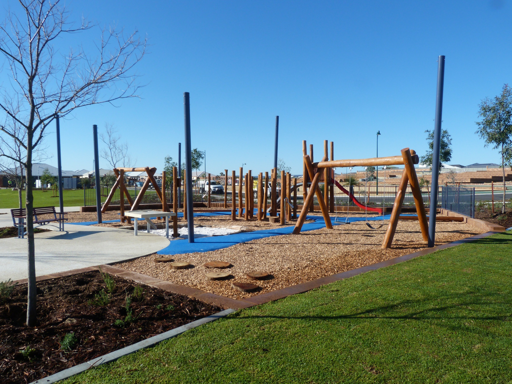 Mason Green Private Estate has a newly completed park with playground, AFL goals, a half-basketball court, seating, shelters and a barbecue for |residents and players.