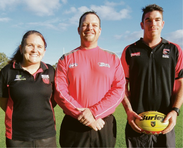 Perth Angels president Kristy Geuer, AFL Auskick Belmont co-ordinator John Allan and Belmont Bombers captain Joel Cooper.