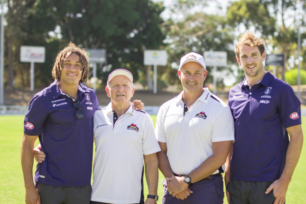 WA football legend Barry Cable joins Grant Smith (McDonald's Licensee) and players from the Fremantle Football Club to announce new sponsorship for WA football.