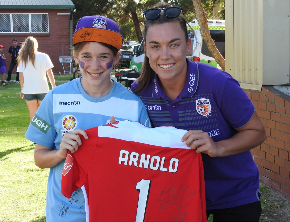 Miranda Templeman with Perth Glory and Matildas goalkeeper Mackenzie Arnold.
