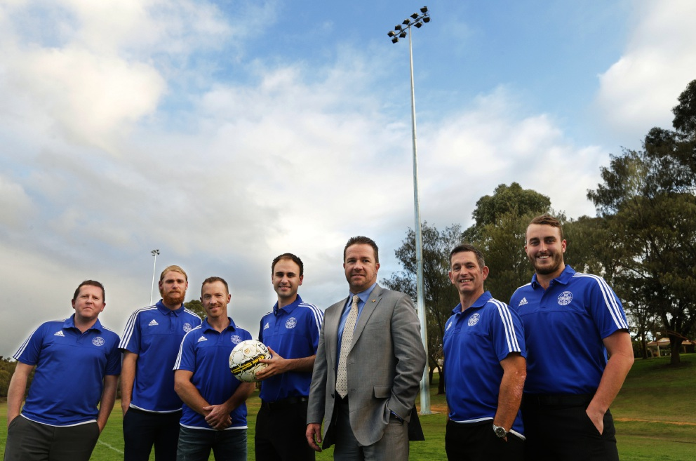 Joondalup Mayor Troy Pickard with Chris Brady, Jesse Higgins, Barry Lewis, Ben Andrews, Stuart Green and Jamie Kane. Picture: Martin Kennealey           d455908