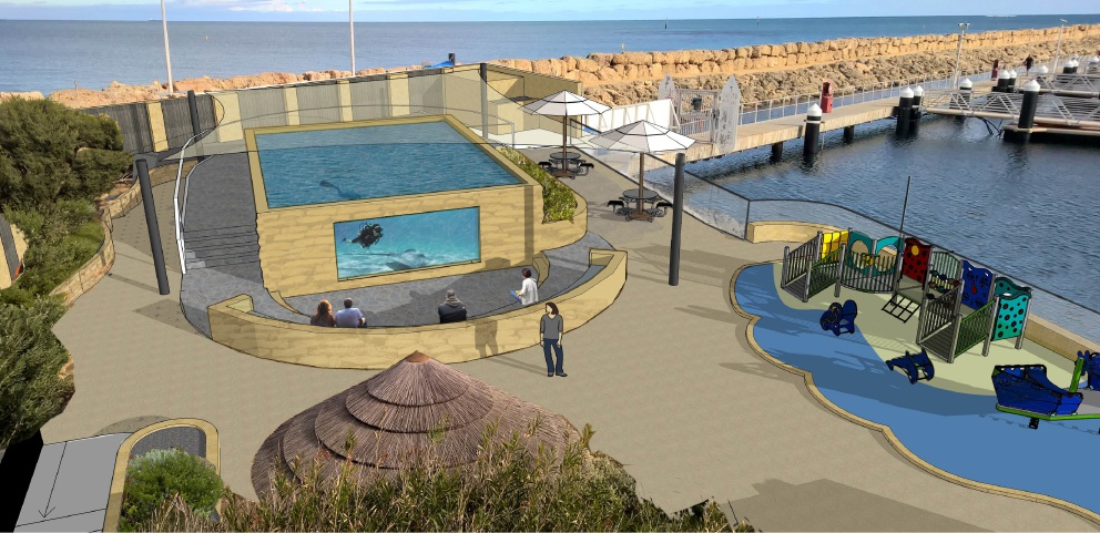 An artist's impression of Stingray Bay, and (left) construction underway.
