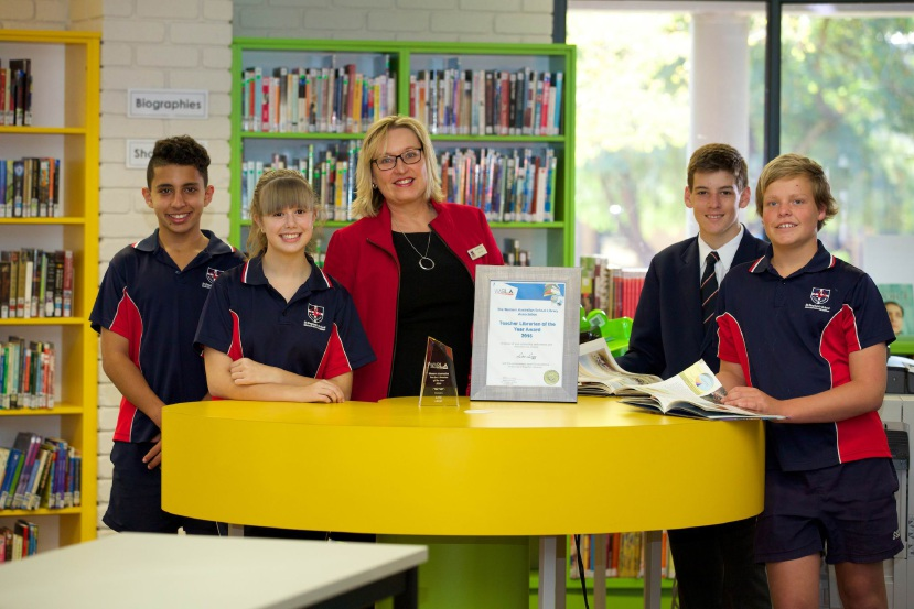 St Stephen's School head of library services Lise Legg with students Daniel Hawash, Cleo Thompson, Luke Raath and Micah Wesley.