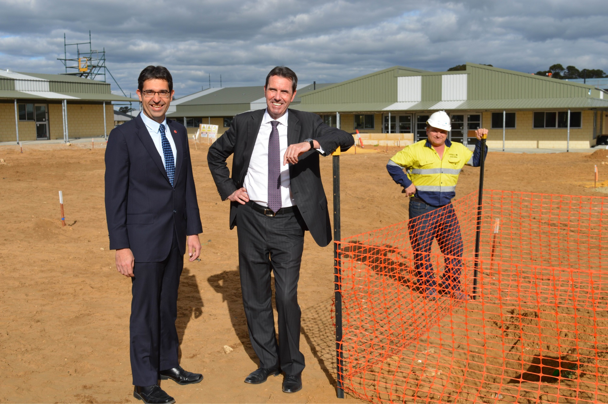 Education Minister Peter Collier, South Metropolitan region MLC Nick Goiran and site manager Tom Larsen.