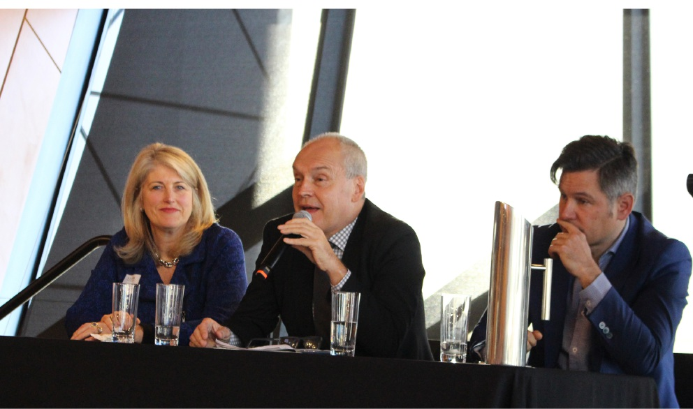 Russell Aubrey (centre) at a panel debate about Perth Freight Link earlier this year with Kwinana Mayor Carol Adams and Fremantle Mayor Brad Pettitt.