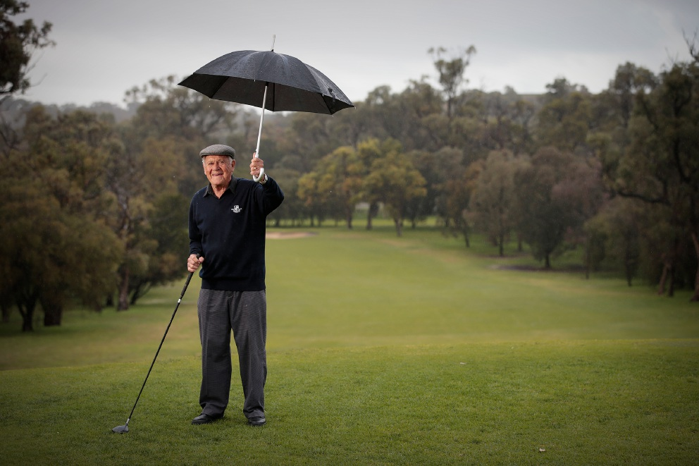 Paul Latham (90) is the oldest player at Karrinyup Golf Club. Picture: Andrew Ritchie