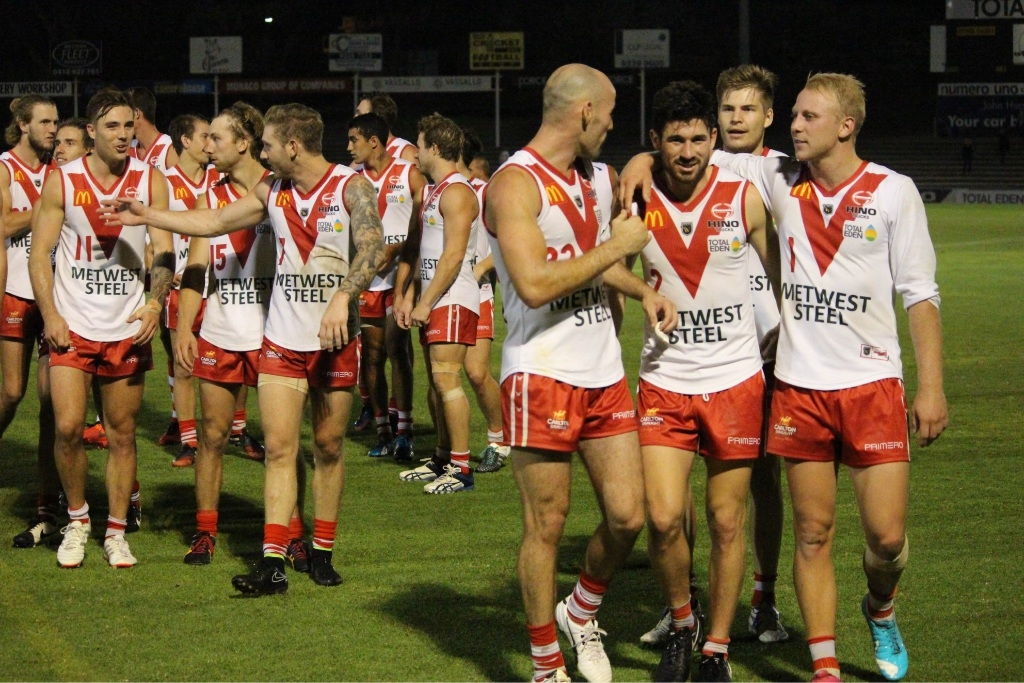 South Fremantle will be keen to continue its winning ways, and share in more scenes like this one against East Perth two weeks ago.