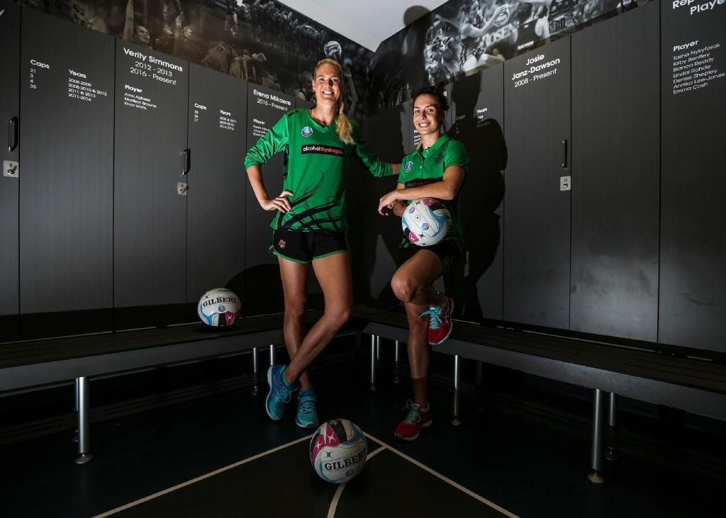 West Coast Fever's Caitlin Bassett and Ashleigh Brazill
