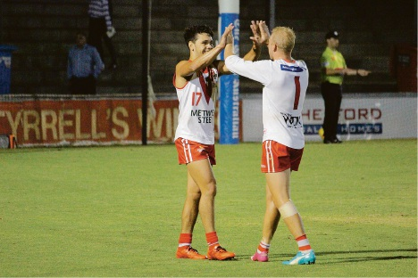 Steven Edwards celebrates one of his three goals for the match with Haiden Schloithe. Picture: Bryce Luff