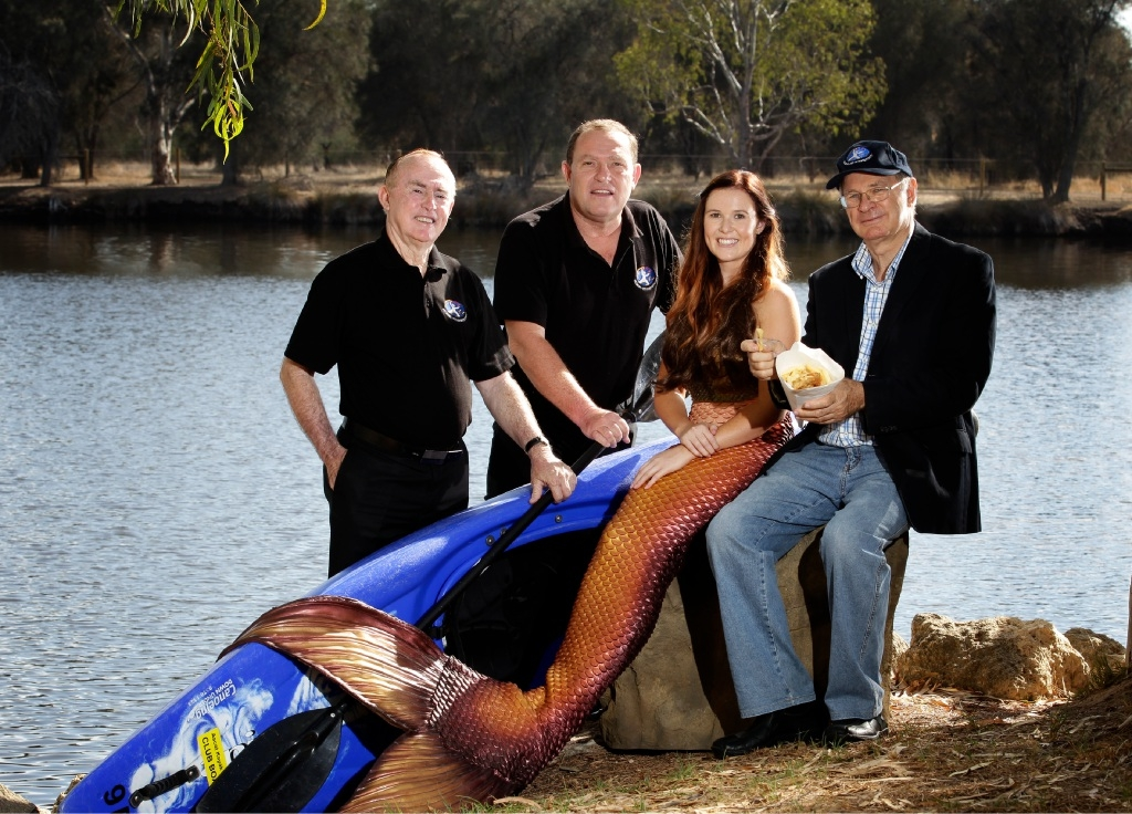 "Belmont councillor Bernie Ryan, deputy mayor Robert Rossi, ""mermaid"" Shenae Baulch and mayor Phil Marks got together to promote the Autumn River Festival."