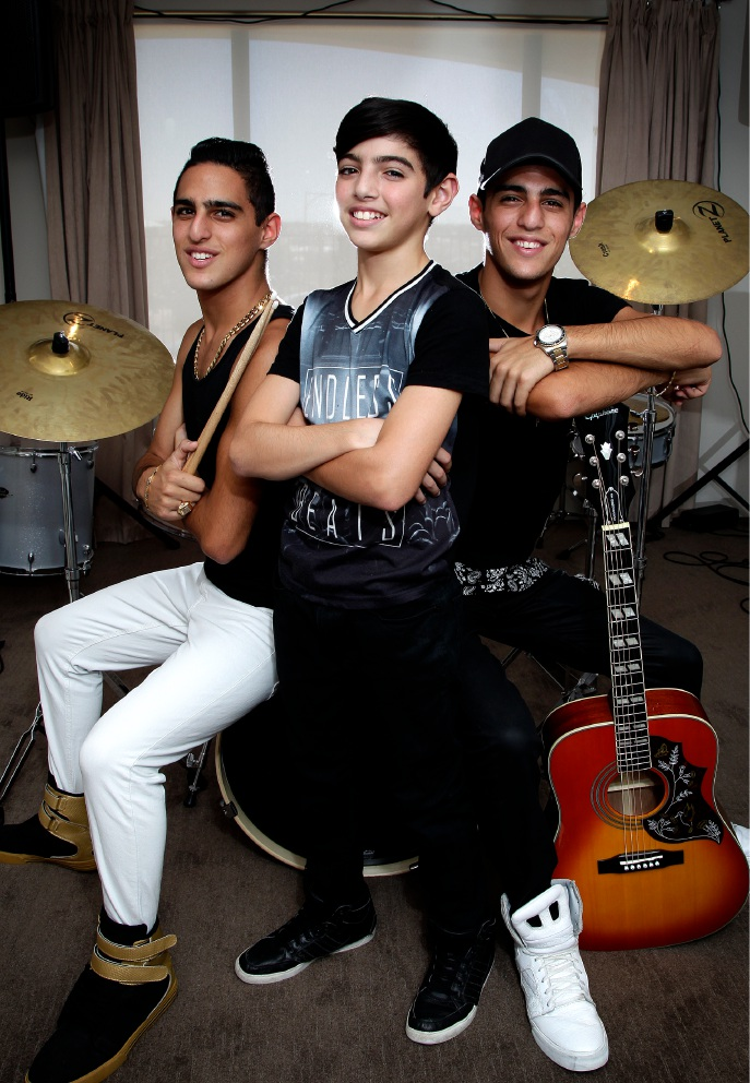The Subih Brothers Manuell (16), Andrie (11) and Shaheen (16) pictured in their home studio. Picture: Marie Nirme d450583