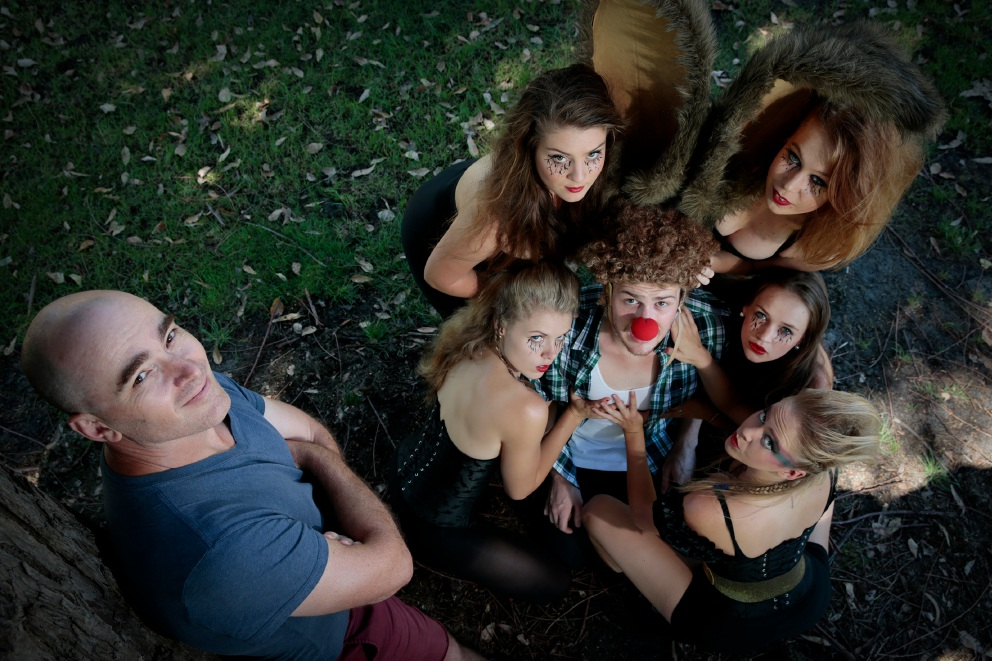 Director Trent Baker with cast (clockwise bottom left) Meg McKibbin (Ballajura), Laura Jackson (Inglewood), Mackenzie Dunn (Mosman Park), Chloe Bremner (Maylands) and Jenna Curran (Mt Lawley) with Cameron Steens (Dalkeith) middle. Picture: Andrew Ritchie d450657