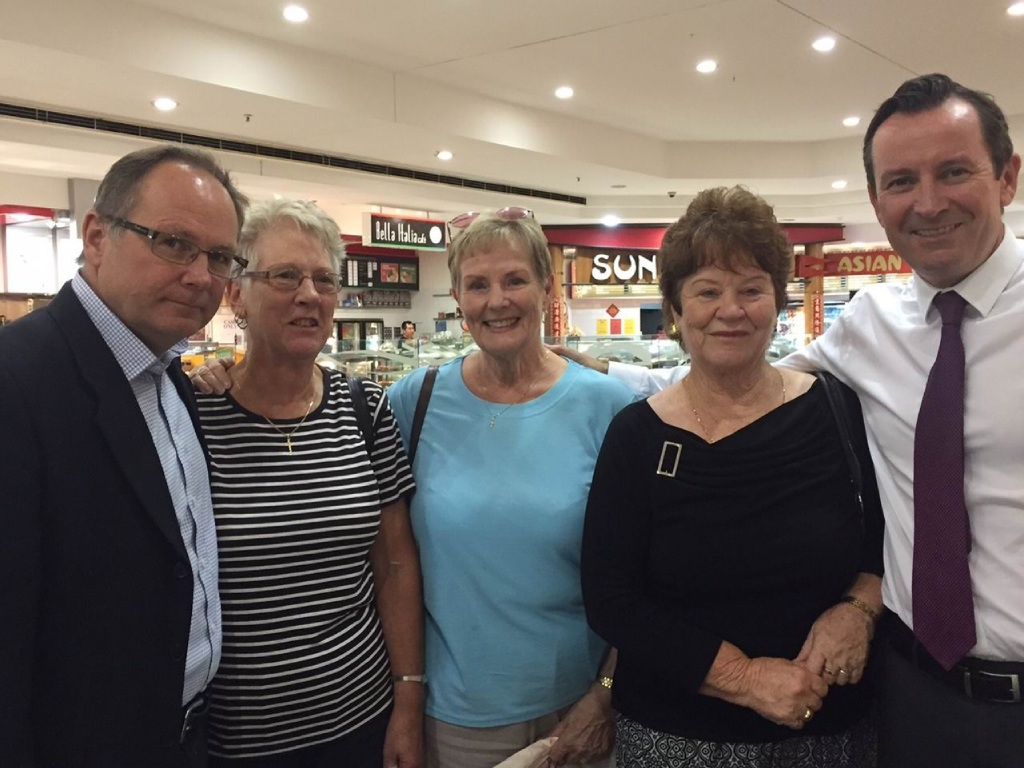 MLAs David Templeman and Mark McGowan with concerned pensioners Daisy Scacchia, Pat Larkin and Jean Barton.