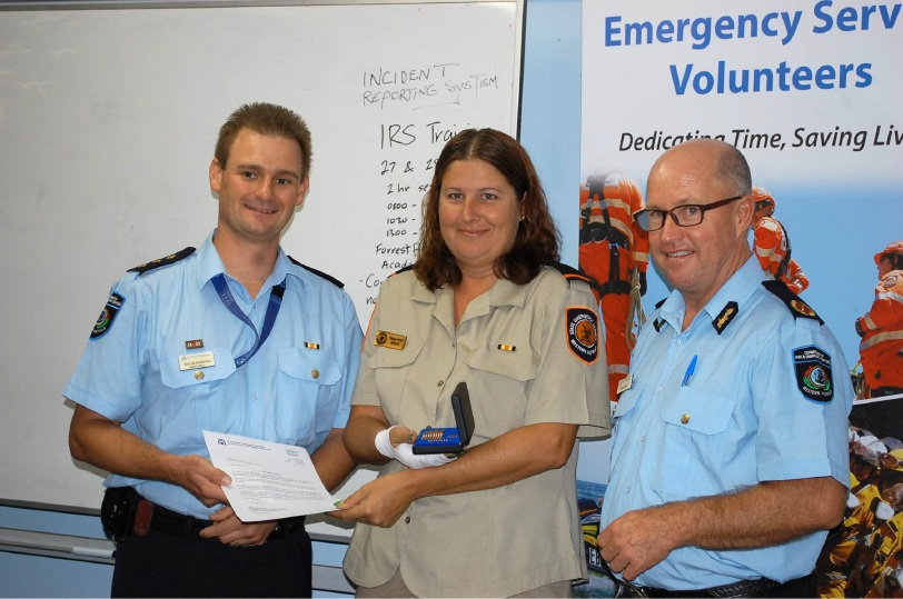 FES District officer Will Blackshaw, Trisha Port and District Superintendent Greg Feeney at the awards night.