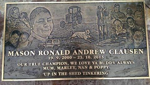 Mason Clausen's memorial plaque was stolen from a cemetery in Mandurah in December last year.